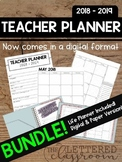 2018 - 2019 Editable Teacher Planner BUNDLE! (Life and Digital Planner Included)