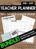 2018 - 2019 Editable Teacher Planner BUNDLE! (Life and Dig