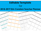 2018-2019 Editable Template to use with Erin Condren Teacher Planner