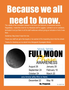2018-2019 Full Moon Awareness Chart