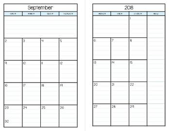 2018 -2019 Half Page Calendar