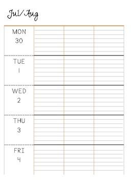 2018 2019 lesson planner printable lesson plan book woodland theme