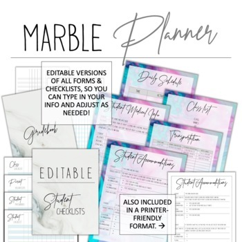 2018-2019 Marble Teacher Planner w/ Editable Lesson Plans & Forms! FREE Updates!