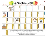 2018 - 2019 Montessori-Themed Small School Year Calendar - Monthly Spreads