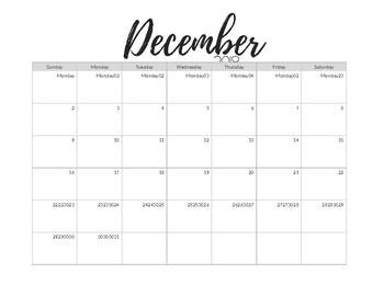 2018-2019 Monthly Calendar