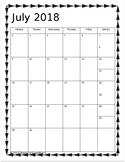 2018-2019 Monthly Calendar- Arrow Themed