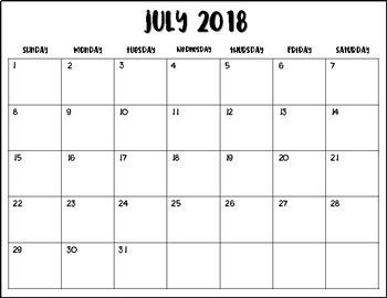 2018-2019 Monthly Calendar Black and White