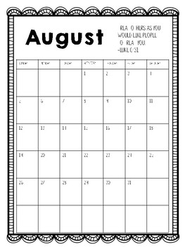 2018-2019 Monthly Calendar with Bible Verses