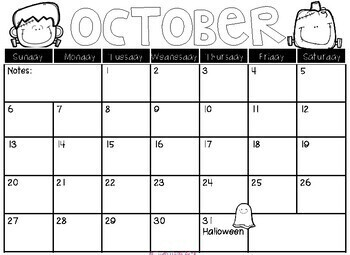 2018-2019 Monthly Calendars