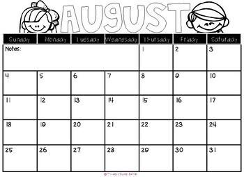 2019-2020 Monthly Calendars
