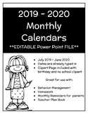 EDITABLE 2018-2019 Monthly Homework/Behavior Calendars