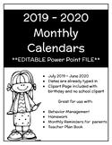 EDITABLE 2019 - 2020 Monthly Homework/Behavior Calendars