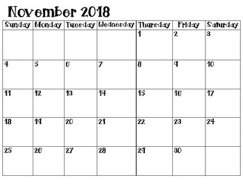 2018-2019 Monthly School Calendars