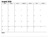 2018-2019 Monthly School Calendars