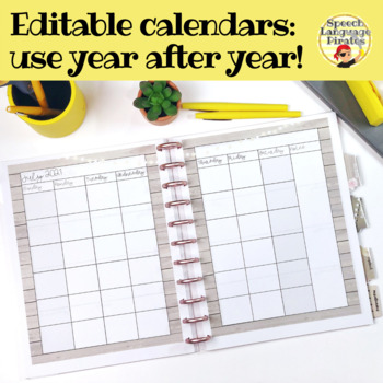 EDITABLE Monthly and Weekly SLP Planner