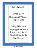 2019-2020 Oklahoma Fifth Grade Report Card, Site License Good For 5 Teacher