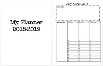 2018-2019 Planner - Weekly View