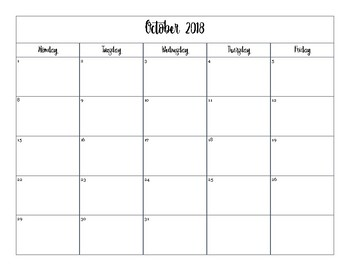 2018-2019 Printable Calendar (Weekdays Only) by Betsy ...