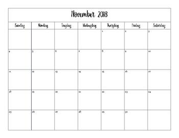 2018-2019 Printable Calendar (With Weekends)