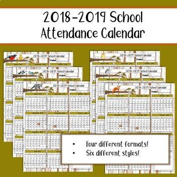 2018-2019 School Attendance Calendar/ Record