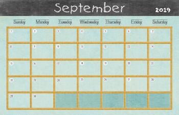 2018 2019 school year calendar 11x17 bundle by drawn to learn tpt