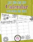 2018-2019 School Year Calendar Ink Friendly with Editable