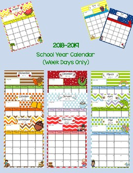 2018-2019 School Year Calendar - Portrait Style (Weekdays Only)
