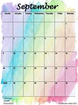2018-2019 School Year Calendar-Watercolor
