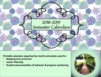 2018 2019 Semester Calendars for Lesson Planning and Record Keeping