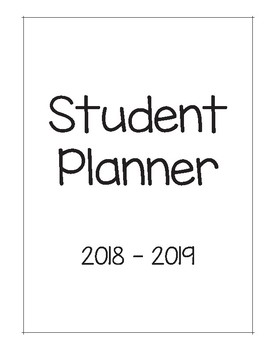 2018 - 2019 Elementary Student Planner Pages