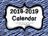 2018-2019 Teacher Binder Calendars - B&W OR COLOUR