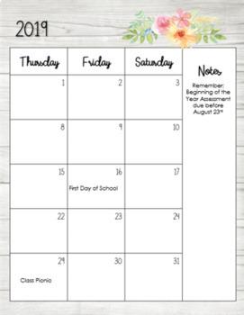 2018-2019 Teacher Floral Editable Calendar