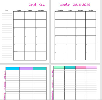 2018-2019 Teacher Lesson Planner Pages for Happy Planner, Binder, etc.