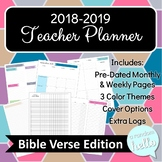 2018-2019 Teacher Planner Bible Verse Edition, Ideal for Secondary, 3 ColorTheme