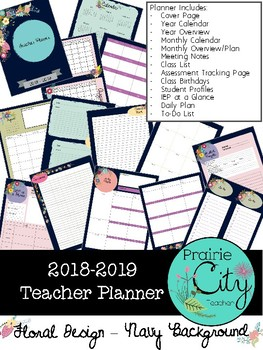 Teacher Planner 2018-2019 - Floral Navy Design