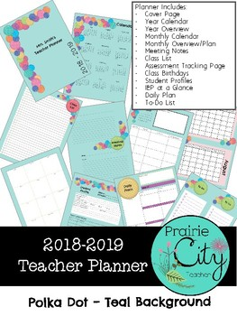 Teacher Planner 2018-2019 - Polka Dot Design