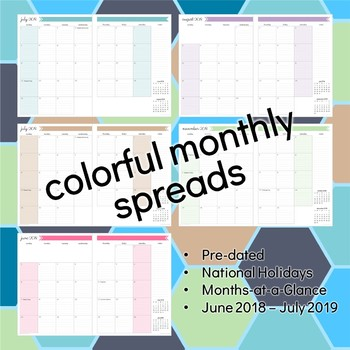 2018-2019 Teacher Planner    Pre-dated, Ideal for Secondary, 3 Color Themes