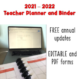 2019-2020 Teacher Planner and Binder with Annual Updates for FREE