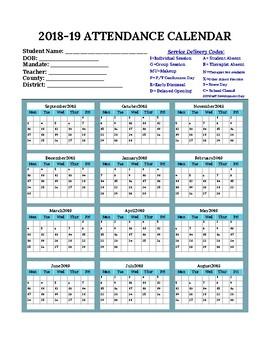 Attendance Calendar 2019 2018 2019 Therapy Attendance Calendar (Speech, OT, PT, Psych