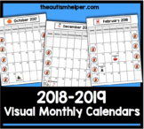 2018-2019 Visual Monthly Calendars for Children with Autism