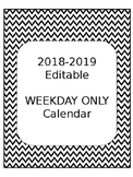 2018-2019 Weekday Only Calendar EDITABLE