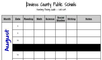 2018-2019 Yearlong Pacing Guide (Daviess County Public Schools)