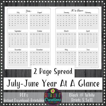 Teacher Binder 2018-2019 Yearly At A Glance Planner Notebook Insert