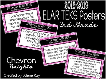 "2018 3rd Grade ELAR TEKS ""I Can"" Statement Posters: CHEVRON BRIGHTS"