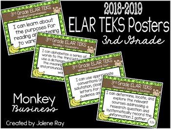 "2018 3rd Grade ELAR TEKS ""I Can"" Statement Posters: MONKEY BUSINESS"