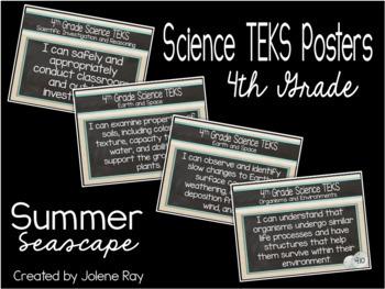 """2018-2019 4th Grade """"I Can"""" TEKS Statement Poster Bundle: SUMMER SEASCAPE"""