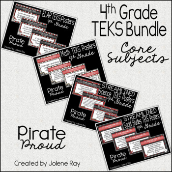 """4th Grade """"I Can"""" TEKS Statement Poster Bundle: PIRATE PROUD"""