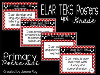 "4th Grade ""I Can"" TEKS Statement Poster Bundle: PRIMARY POLKA DOT"
