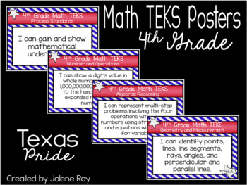 "4th Grade ""I Can"" TEKS Statement Poster Bundle: TEXAS PRIDE"
