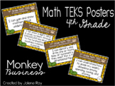 """4th Grade Math TEKS """"I Can"""" Statement Posters: MONKEY BUSINESS"""